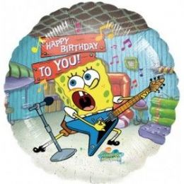 "100 Units of Mylar 18"" LC-Happy Birthday Sponge Bob Rocks! - Balloons/Balloon Holder"