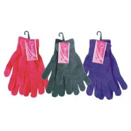 240 Units of Ladies Chenille Winter Glove Assorted Colors One Size Fits All - Knitted Stretch Gloves