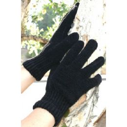 240 Units of Ladies Black Only Chenille Gloves - Knitted Stretch Gloves