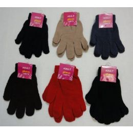 72 Units of Ladies Solid Color Magic Gloves - Knitted Stretch Gloves