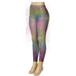 36 Units of One Size Ladies Rainbow Cheetah Leggings - Womens Leggings