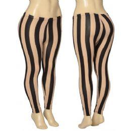 36 Units of Ladies Striped Leggings - Womens Leggings