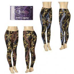 36 Units of Ladies Chain Printed Leggings - Womens Leggings