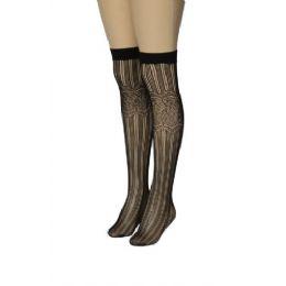 36 Units of Ladies Black Printed Knee High - Womens Knee Highs