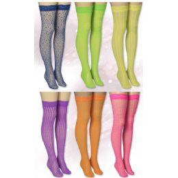 120 Units of Ladies Knee High Neon Colors - Womens Knee Highs