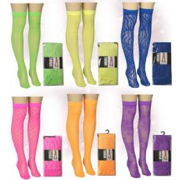 120 Units of Ladies Neon Color Knee High Assorted Prints - Womens Knee Highs