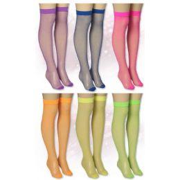 72 Units of Ladies Solid Neon Color Knee High - Womens Knee Highs