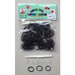 144 Units of 100pk Loom Bands [black] - Bracelets