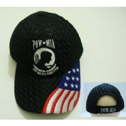 24 Units of Air Mesh POW Hat [Flag on Bill] - Military Caps