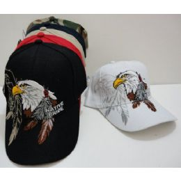 24 Units of Native Pride-Eagle with Feathers - Military Caps