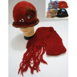 72 Units of Hand Knitted Fashion Hat & Scarf Set--Heart & Feather - Winter Sets Scarves , Hats & Gloves