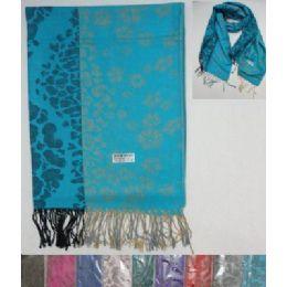 48 Units of Pashmina With FringE--Lg Leopard Print & Flowers - Womens Fashion Scarves