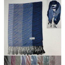 48 Units of Pashmina With Fringe--Zebra Print - Womens Fashion Scarves