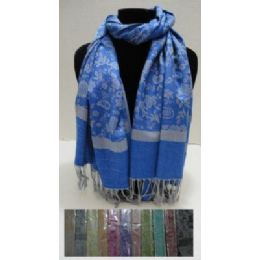 48 Units of Pashmina With Fringe-Small Flowers - Womens Fashion Scarves