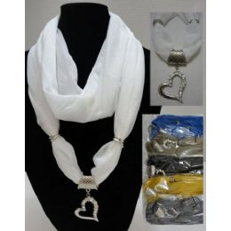 """24 Units of Scarf Necklace-Loop ScarF-Solid Heart W/ Rhinestones 70"""" - Womens Fashion Scarves"""