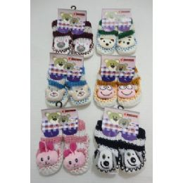 144 Units of Babies NoN-Slip Knitted Booties With Characters [ 6moS-12mos] - Girls Boots