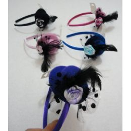 144 Units of Fancy Hat Headband with Feathers & Rose - Headbands