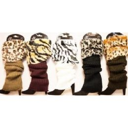24 Units of Stocking Leg Warmer Leopard Print Faux Fur Assorted - Womens Leg Warmers