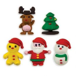 48 Units of 5-Ct Christmas 3D Eraser Pack - Erasers