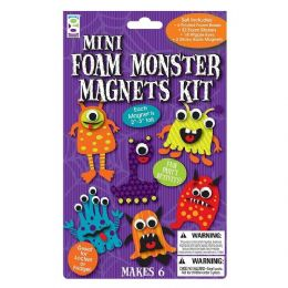 96 Units of Mini Foam Monster Magnets Kit - Refrigerator Magnets
