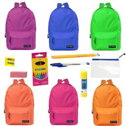 "24 Units of 17"" Backpacks With 12 Piece School Supply Kit - In 6 Assorted Colors - School and Office Supply Gear"