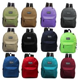 "24 Units of 17"" Kids Basic Backpack in 12 Randomly Assorted Colors - School and Office Supply Gear"