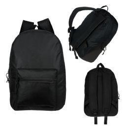 "24 Units of 17"" Kids Basic Black Backpack - School and Office Supply Gear"