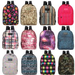 "24 Units of 17"" Kids Classic Padded Backpacks In 8 to 12 Randomly Assorted Unique Prints - School and Office Supply Gear"