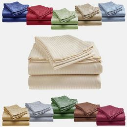 12 Units of 1800 Series Ultra Soft 4 Piece Embossed Stripe Bed Sheet Size Queen In Plum - Bed Sheet Sets