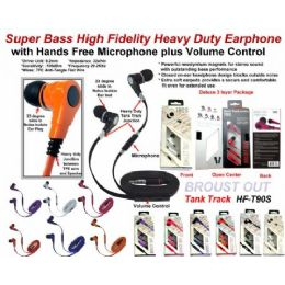 24 Units of Super Bass Anti-Tangle Flat Wire Stereo Earphone  with Microphone plus Volume Control - Headphones and Earbuds