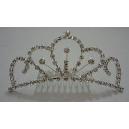 "120 Units of Medium Rhinestone Tiara 4""x1.75"" - Headbands"