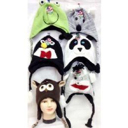 48 Units of Knit Animal Hats Assorted monkey frog owl - Winter Animal Hats