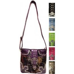 24 Units of Camouflage Rhinestone Western Buckle Sling Bags Purses - Leather Purses and Handbags