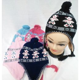 48 Units of Knit Girl's Bear Winter Hats with Ear Flaps - Winter Animal Hats