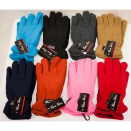 48 Units of Women Fleece Gloves Thick Assorted Colors - Fleece Gloves