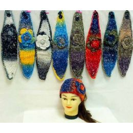 36 Units of Knit Flower Headband MultI-Color With Sparkle - Ear Warmers