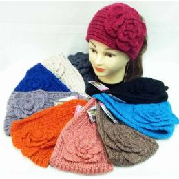 36 Units of Knit Flower Headband Simple Design Solid Color - Ear Warmers