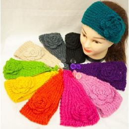 48 Units of Knit Flower Headband Simple Design Solid Colorful - Ear Warmers