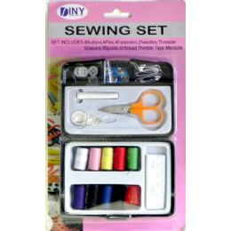 48 Units of Sewing Set in Plastic Case - Sewing Supplies