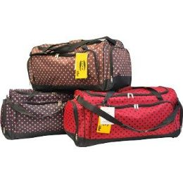 "12 Units of 30"" mini Polka Dots tote-Brown W/Aqua - Tote Bags & Slings"