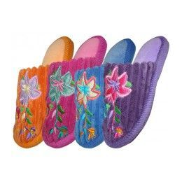 48 Units of Children's Velvet Floral House Slippers - Girls Slippers