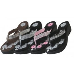 24 Units of Women's Flower Print Wedge With Rhinestone Look Flip Flops