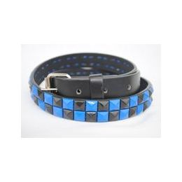 48 Units of Black-blue 2-Row Pyramid Studded kids Belt Unisex boy girl - Unisex Fashion Belts