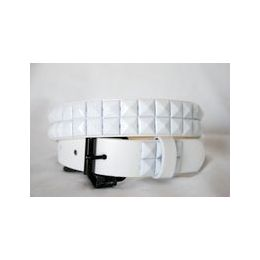 48 Units of White 2-Row Pyramid Studded kids Belt Unisex boy girl - Unisex Fashion Belts
