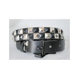 48 Units of Black-silver 2-Row Pyramid Studded kids Belt Unisex boy girl - Unisex Fashion Belts