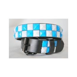 48 Units of White-blue 2-Row Pyramid Studded kids Belt Unisex boy girl - Unisex Fashion Belts