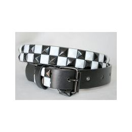 48 Units of Black-white 2-Row Pyramid Studded kids Belt Unisex boy girl - Unisex Fashion Belts