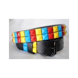 48 Units of Colorful 2-Row Pyramid Studded kids Belt Unisex boy girl - Unisex Fashion Belts