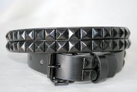48 Units of Black-Gold 2-Row Pyramid Studded kids Belt Unisex boy girl - Unisex Fashion Belts