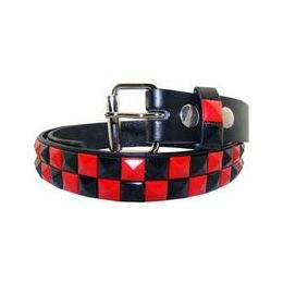 48 Units of Black-Red 2-Row Pyramid Studded kids Belt Unisex boy girl - Unisex Fashion Belts